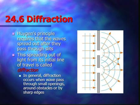 24.6 Diffraction Huygen's principle requires that the waves spread out after they pass through slits This spreading out of light from its initial line.