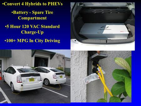 Convert 4 Hybrids to PHEVs Battery - Spare Tire Compartment 5 Hour 120 VAC Standard Charge-Up 100+ MPG In City Driving.