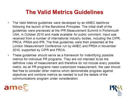 Understanding and Applying Valid Metrics Guidelines February, 2011.