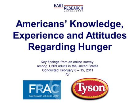 Americans Knowledge, Experience and Attitudes Regarding Hunger Key findings from an online survey among 1,509 adults in the United States Conducted February.