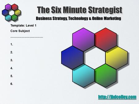 The Six Minute Strategist Business Strategy, Technology & Online Marketing  Template: Level 1 Core Subject.....................................