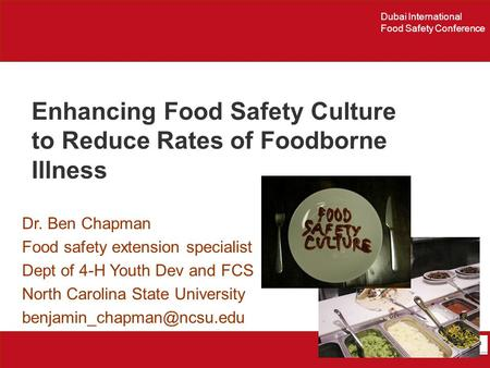 Enhancing Food Safety Culture to Reduce Rates of Foodborne Illness