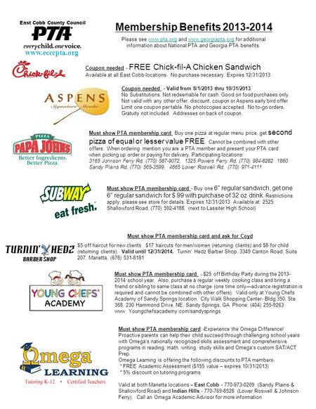 Coupon needed - FREE Chick-fil-A Chicken Sandwich Available at all East Cobb locations. No purchase necessary. Expires 12/31/2013. Membership Benefits.