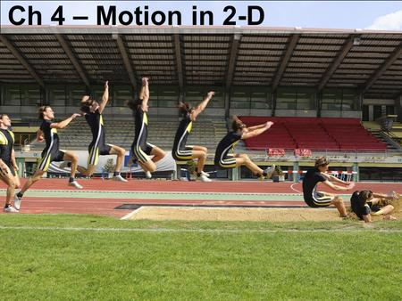 Ch 4 – Motion in 2-D. Welcome back...! Homework Reminders: One problem per page Sketches, sketches, sketches Blurbs Start with formula from equation sheet...