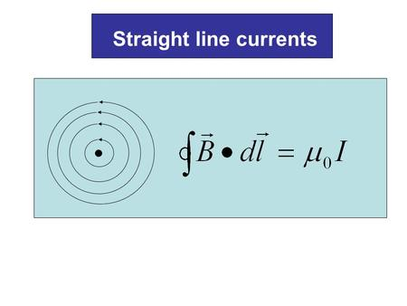 Straight line currents. Φ1Φ1 Φ2Φ2 Loop Wire …we have a bundle of straight wires and some of the wires passes through the loop… I1I1 I2I2 I3I3 I4I4 I5I5.