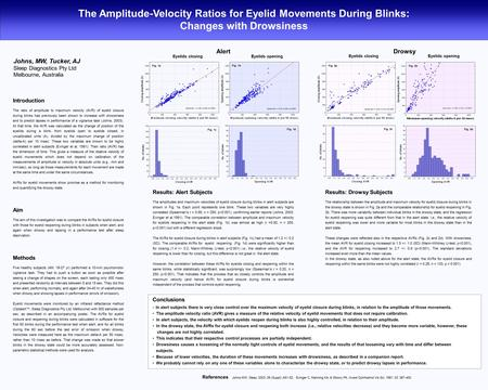The Amplitude-Velocity Ratios for Eyelid Movements During Blinks: Changes with Drowsiness Johns, MW, Tucker, AJ Sleep Diagnostics Pty Ltd Melbourne, Australia.