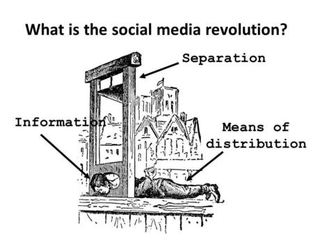 What is the social media revolution? Separation Information Means of distribution.