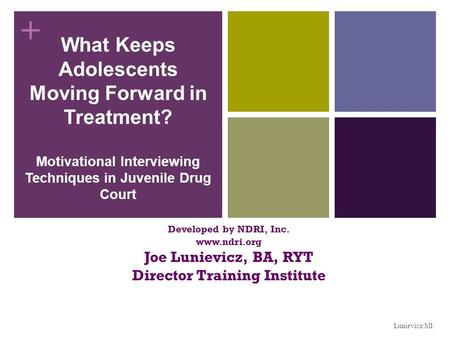 + What Keeps Adolescents Moving Forward in Treatment? Motivational Interviewing Techniques in Juvenile Drug Court Developed by NDRI, Inc. www.ndri.org.
