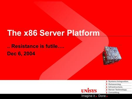 The x86 Server Platform.. Resistance is futile…. Dec 6, 2004.