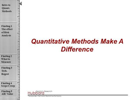 Hubbard Decision Research The Applied Information Economics Company Intro to Quant. Methods Finding 1 The effect of Risk Analysis Finding 4 Scope Creep.