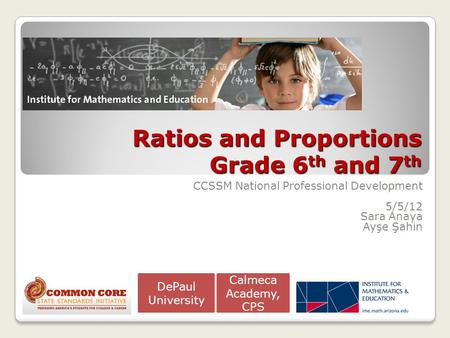 Ratios and Proportions Grade 6th and 7th