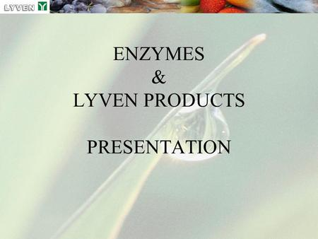 ENZYMES & LYVEN PRODUCTS PRESENTATION. presentation enzymes 2007 2 ENZYMES = PROTEINS Biochemicals Molecules composed of different amino-acid and other.