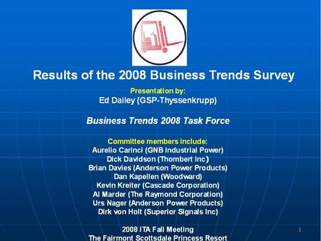 2 Results of the 2008 Business Trends Survey Presentation by: Ed Dailey (GSP-Thyssenkrupp) Business Trends 2008 Panel Members Panel members include: Dan.