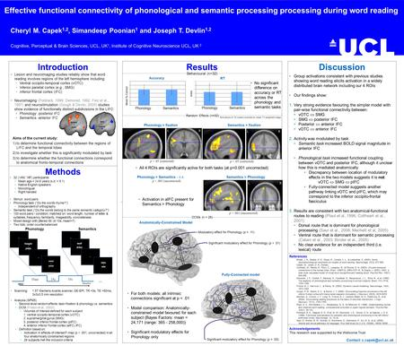 Methods Effective functional connectivity of phonological and semantic processing processing during word reading Cheryl M. Capek 1,2, Simandeep Poonian.