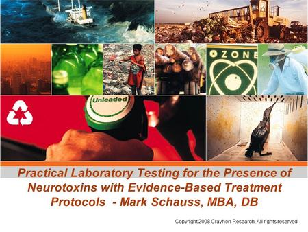 Practical Laboratory Testing for the Presence of Neurotoxins with Evidence-Based Treatment Protocols - Mark Schauss, MBA, DB Copyright 2008 Crayhon Research.