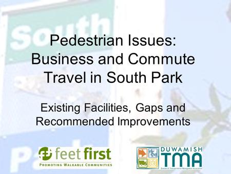 Pedestrian Issues: Business and Commute Travel in South Park Existing Facilities, Gaps and Recommended Improvements.
