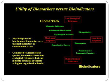1.Biochemical biomarkers Based on the ability of the pollutant to generate a response at the gene level, inducing or increasing specific enzymes involved.