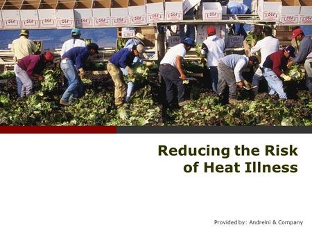 Reducing the Risk of Heat Illness Provided by: Andreini & Company.