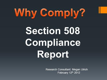 Section 508 Compliance Report