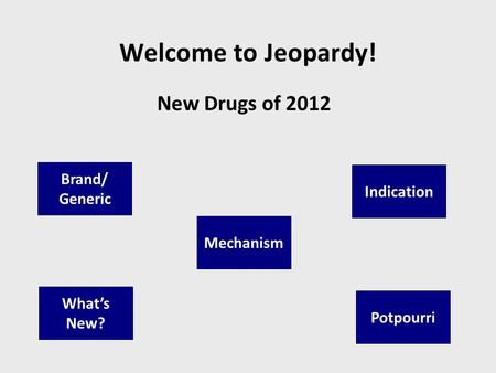 Welcome to Jeopardy! New Drugs of 2012 Brand/ Generic Indication Whats New? Potpourri Mechanism.