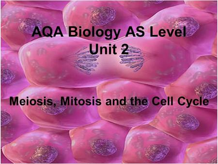 AQA Biology AS Level Unit 2 Meiosis, Mitosis and the Cell Cycle.