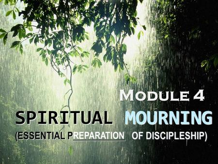 SPIRITUAL MOURNING (ESSENTIAL P___________ OF DISCIPLESHIP) Module 4 REPARATION.