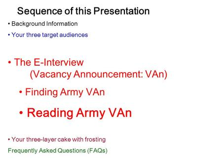Sequence of this Presentation Background Information Your three target audiences The E-Interview (Vacancy Announcement: VAn) Finding Army VAn Reading Army.