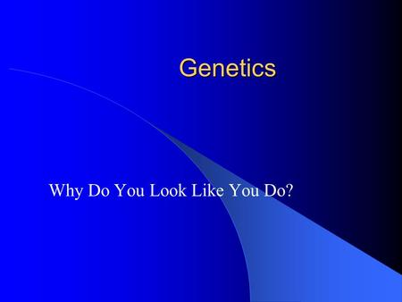 Genetics Why Do You Look Like You Do?. What You Should Learn From This Presentation You should know the definition of each of the bold, underlined words.