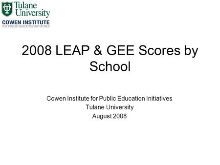 2008 LEAP & GEE Scores by School