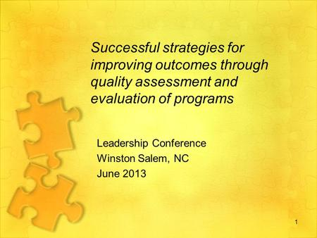 Successful strategies for improving outcomes through quality assessment and evaluation of programs Leadership Conference Winston Salem, NC June 2013 1.