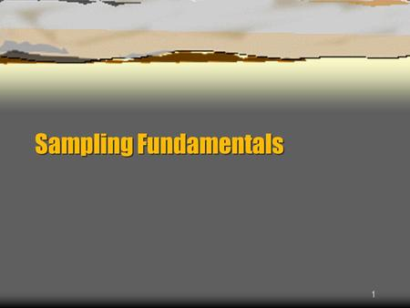 Sampling Fundamentals