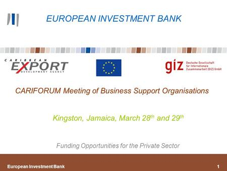 European Investment Bank1 CARIFORUM Meeting of Business Support Organisations Kingston, Jamaica, March 28 th and 29 th Funding Opportunities for the Private.