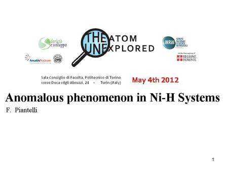 1. 2 Anomalous phenomenon in Ni-H Systems F. Piantelli We trace a possible path for the development of this intriguing and very complex area of research.