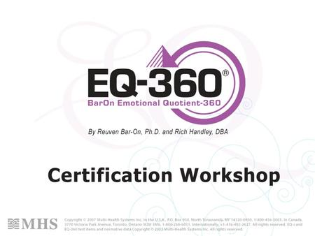 2 Welcome Todays course Your facilitator The EQ-360 The facilities.