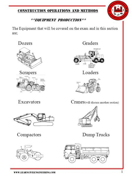 Www.learncivilengineering.com 1 Construction operations And methods **Equipment production** The Equipment that will be covered on the exam and in this.