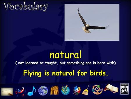 Natural ( not learned or taught, but something one is born with) Flying is natural for birds.