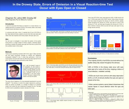 In the Drowsy State, Errors of Omission in a Visual Reaction-time Test Occur with Eyes Open or Closed Chapman RJ, Johns MW, Crowley KE Sleep Diagnostics.