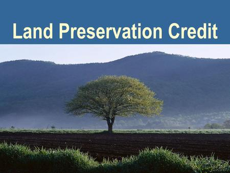 Land Preservation Credit. 2 Virginia Department of Taxation Virginias Land Preservation Tax Credit Presented to: Conservation Partners LLC Appraiser Roundtable.