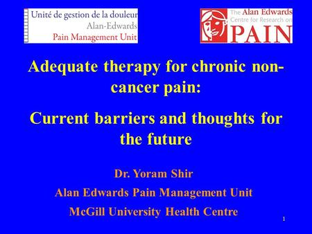 1 Adequate therapy for chronic non- cancer pain: Current barriers and thoughts for the future Dr. Yoram Shir Alan Edwards Pain Management Unit McGill University.