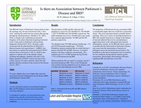 Is there an Association between Parkinsons Disease and IBD? M. W. Johnson, K. Lithgo, T. Price Gastroenterology Department, Luton & Dunstable University.