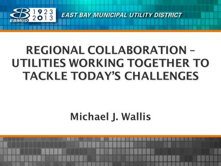 REGIONAL COLLABORATION – UTILITIES WORKING TOGETHER TO TACKLE TODAYS CHALLENGES Michael J. Wallis.
