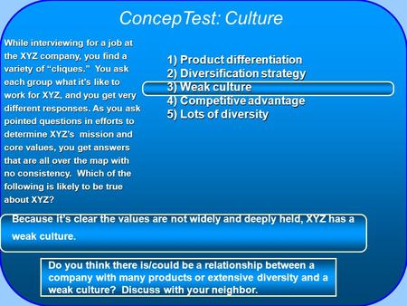 ConcepTest: Culture 1) Product differentiation 2) Diversification strategy 3) Weak culture 4) Competitive advantage 5) Lots of diversity While interviewing.