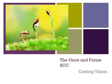 + The Once and Future SCC Casting Vision. + Four Weeks of Remembering Mission, Vision and Distinctives What is The Church? Why we do what we do... Where.
