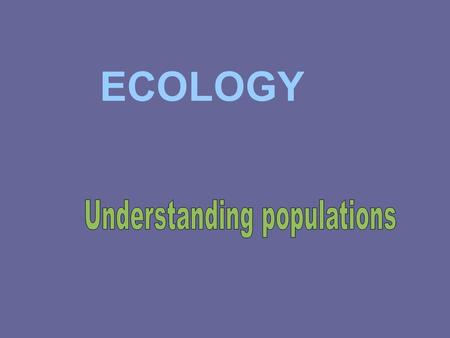 ECOLOGY. Features that determine the future of a population: Population size- the # of individuals in a population Population density- the # of individuals.