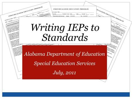 Writing IEPs to Standards