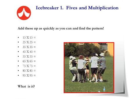 Icebreaker 1. Fives and Multiplication Add these up as quickly as you can and find the pattern! 15 X 15 = 25 X 25 = 35 X 35 = 45 X 45 = 55 X 55 = 65 X.