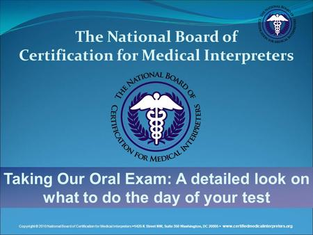 Certification for Medical Interpreters