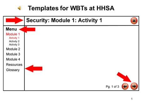 1 Templates for WBTs at HHSA. 2 Video-based Scenario with Choices.