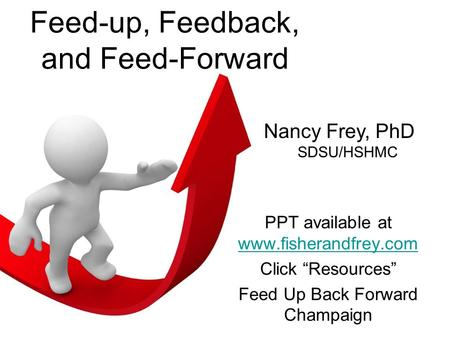 Feed-up, Feedback, and Feed-Forward PPT available at www.fisherandfrey.com www.fisherandfrey.com Click Resources Feed Up Back Forward Champaign Nancy Frey,