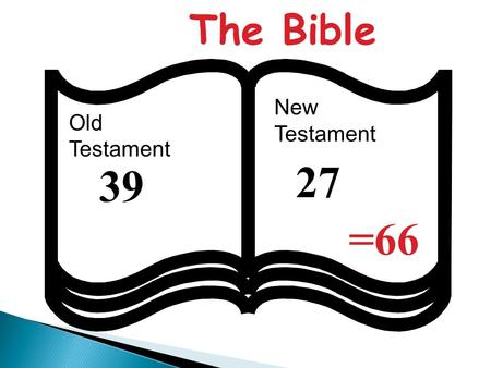 The Bible New Testament Old Testament 27 39 =66.